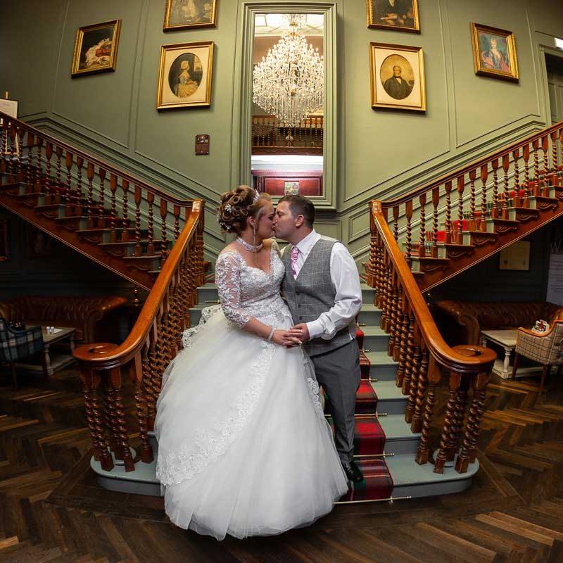 Blackwell Grange Staircase Wedding Couple