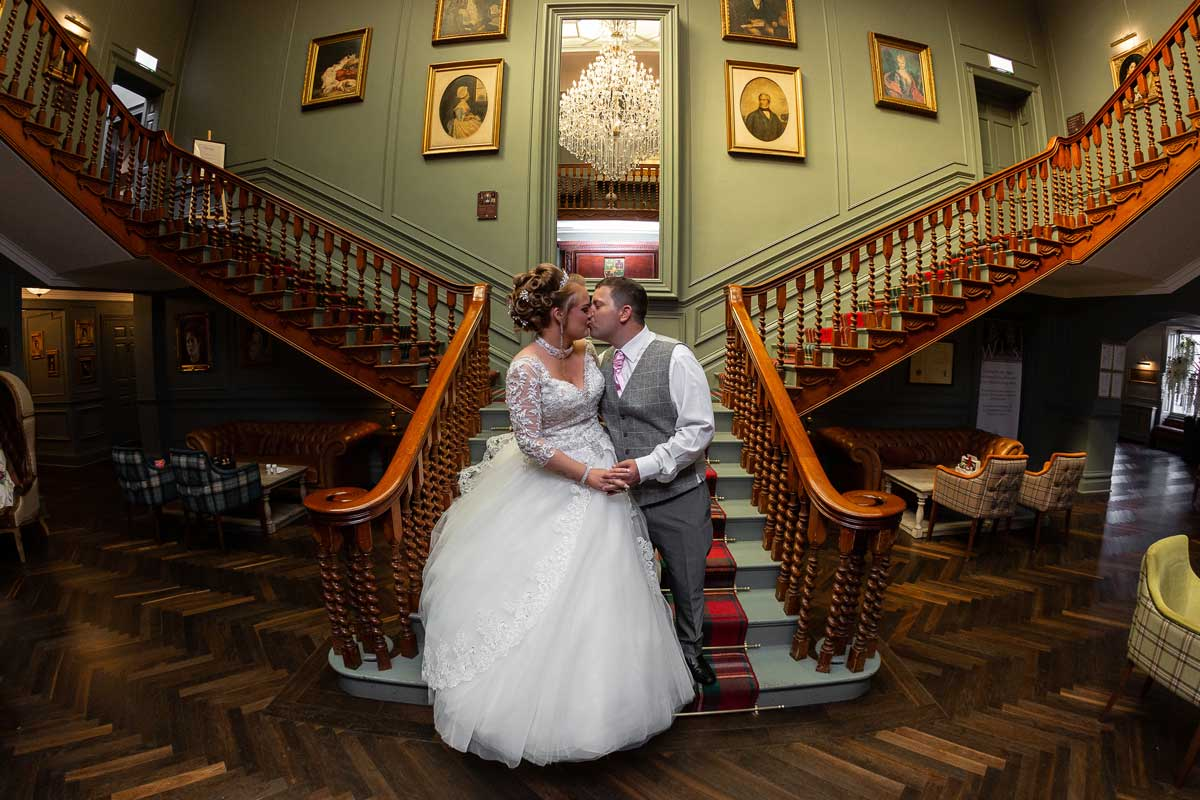 Blackwell Grange Staircase Wedding Couple